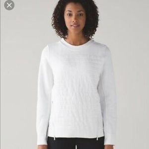 Lululemon Fleece Be Crew Quilted Sweatshirt White
